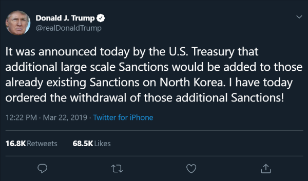 (2) Donald J. Trump on Twitter- -It was announced today by the U.S. Treasury that additional large scale Sanctions would be added to those already existing Sanctions on North Korea. I have today ordered the withdra