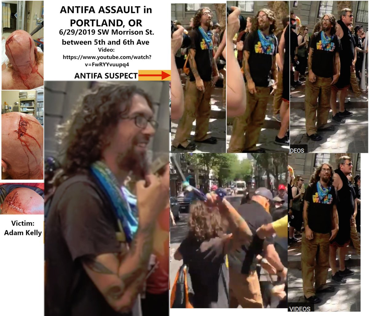 🚨🚨🚨 Suspect ID'd🚨🚨🚨 [Joseph Christian Evans] Seen during Portland #Antifa Riot Assaulting Adam Kelly over the head with a metal pipe sending him to the Emergency Room