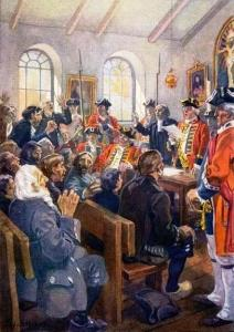 Reading the Order of expulsion to the Acadians in the parish Church at Grand Pre, in 1755 By C.W. Jefferys
